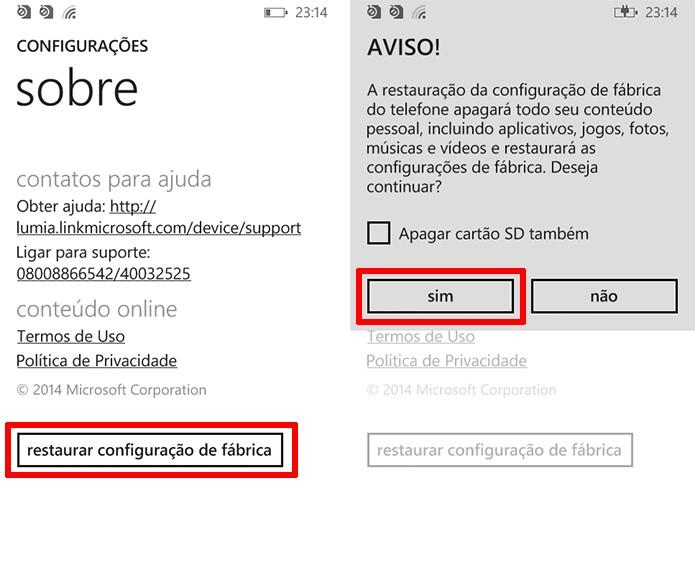 Lumia 630 perguntará se usuário deseja limpar arquivos e aplicativos (Foto: Reprodução/Elson de Souza)