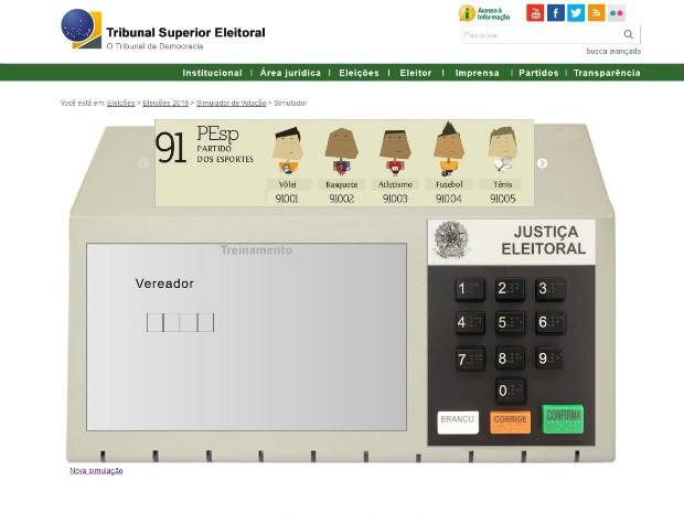 TSE disponibiliza simulador de votação em urna eletrônica (Foto: Reprodução/ TSE)
