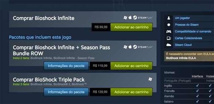 BioShock Infinite para compra no Steam (Foto: Reprodução/Felipe Vinha)