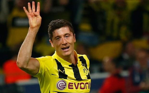 Lewandowski comemora o quarto gol, Borussia Dortmund x Real Madrid (Foto: Reuters)