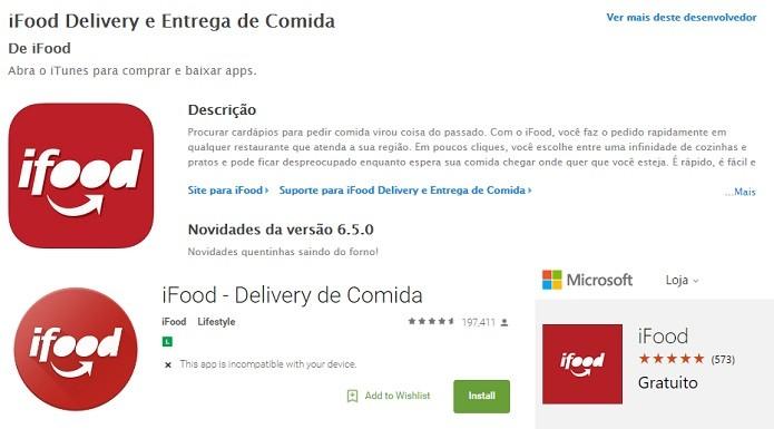 iFood está disponível no iOS, no Android e no Windows Phone (Foto: Reprodução/Aline Jesus)