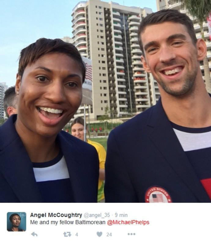 Michael Phelps e Angel McCoughtry (Foto: Reprodução)
