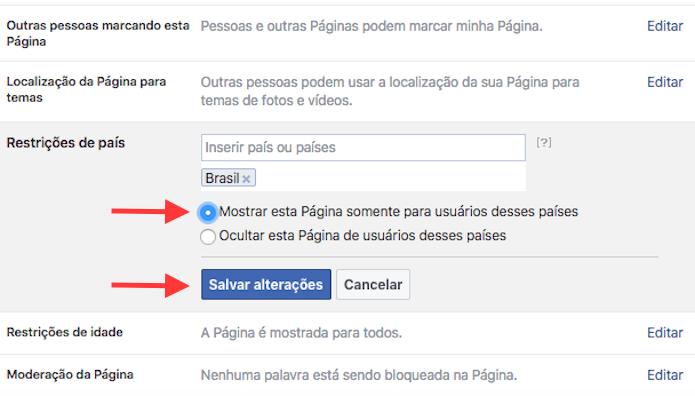 Definindo o público de uma página do Facebook para um país específico (Foto: Reprodução/Marvin Costa)