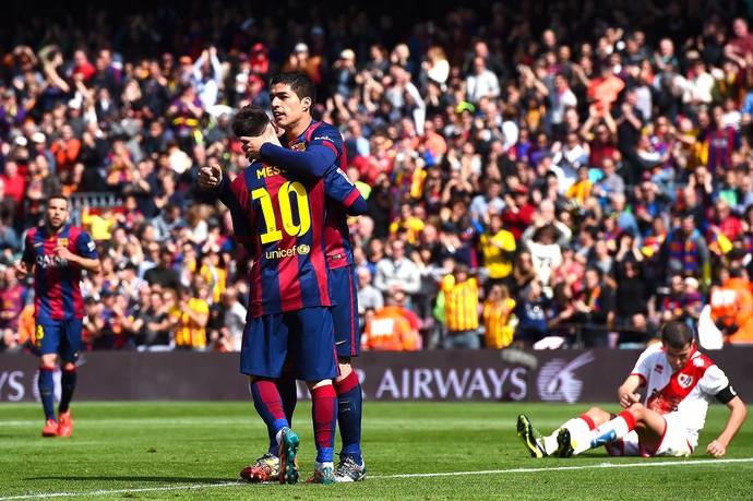 Messi e Luis Suárez, Barcelona x Rayo Vallecano (Foto: David Ramos / Getty Images)