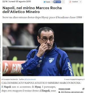 Jornal italiano coloca nome de Marcos Rocha na mira do Napoli (Foto: Reprodução / Internet)