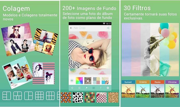 No Crop é um editor de imagens completo com suporte a colagem e também personalização de fundo (Foto: Divulgação/Play Store)