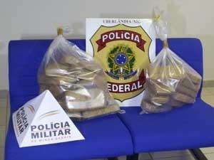 Tabletes de cocaína apreendidos pela polícia (Foto: Flávia Reis/G1)
