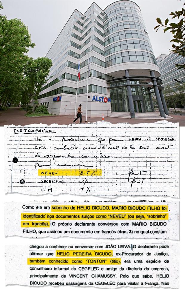 """MISTÉRIO DO ESCLARECIMENTO Sede da Alstom em Paris (à esq.). O """"Neves"""" da investigação sobre a empresa (no alto) era na verdade """"Neveu"""", sobrinho, em francês. Mário Bicudo (no centro) era sobrinho do jurista Hélio Bicudo (abaixo), apelidado de """"Tonton"""" – titio, em francês (Foto: Jacques Brinon/AP)"""