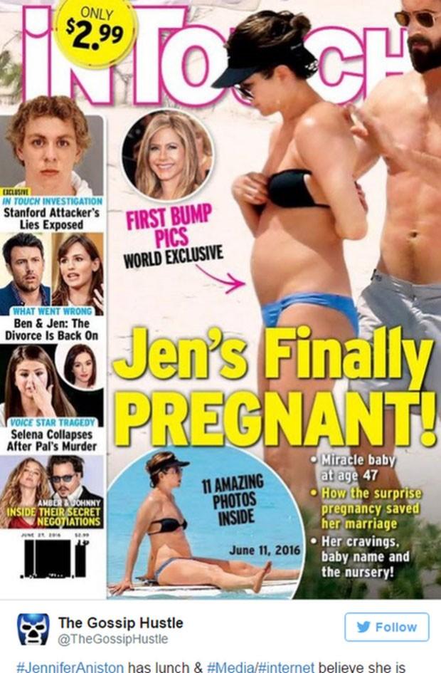 Capa da revista 'In Touch Weekly' foi alvo de crítica do artigo de Jennifer Aniston (Foto: Reprodução)