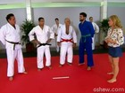 Angélica aprende golpes de defesa com mestre de judô e lança desafio