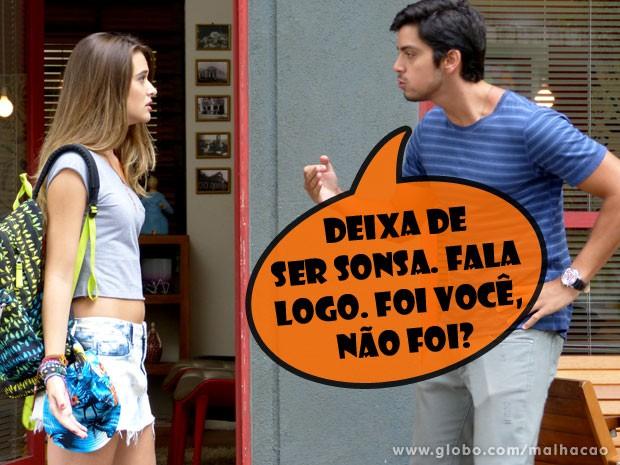 """Bruno fica revoltado com a """"sabotagem"""" de Fatinha (Foto: Malhação / TV Globo)"""