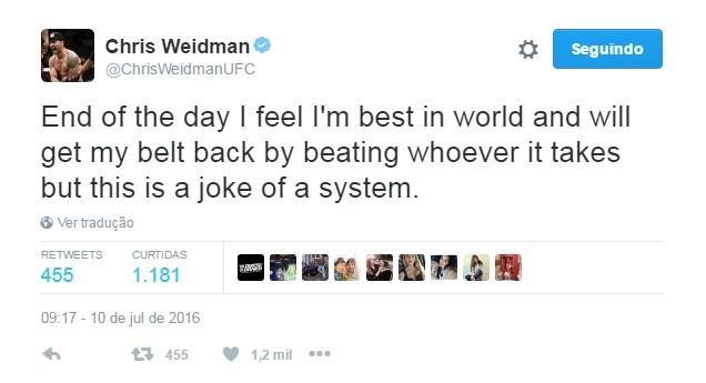 """BLOG: Weidman critica UFC por provável Bisping x Henderson 2: """"Piada de sistema"""""""