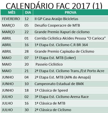 Datas de provas do primeiro semestre do Acreano de MTB (Foto: Divulgação/FAC)