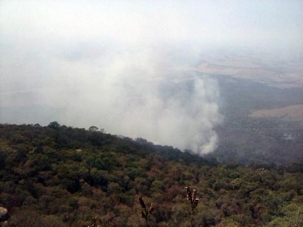 Incêndio atinge Chapada do Abanador, entre Carrancas e Minduri (Foto: Cássio Goulart)