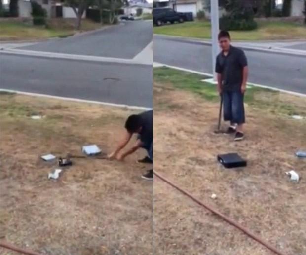 Americano supostamente obrigou seu filho a destruir videogame após tirar notas baixas na escola (Foto: Reprodução/YouTube/FileTile)
