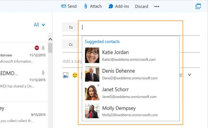 Ao compor um novo e-mail, Outlook irá sugerir contatos mais recentes ou frequentes (Foto: Divulgação)