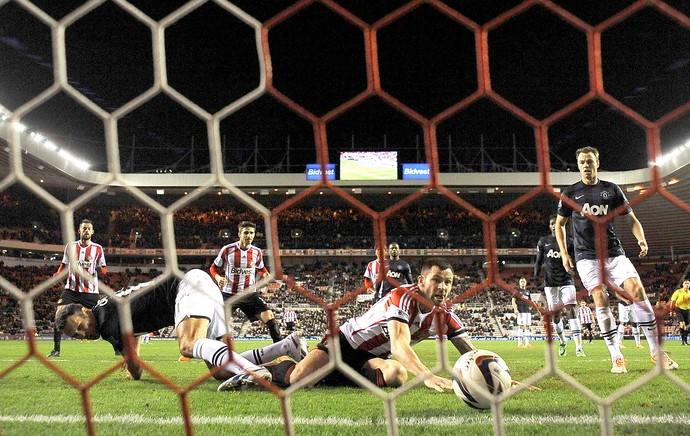 Phil Bardsley gol Sunderland contra Manchester United (Foto: Reuters)