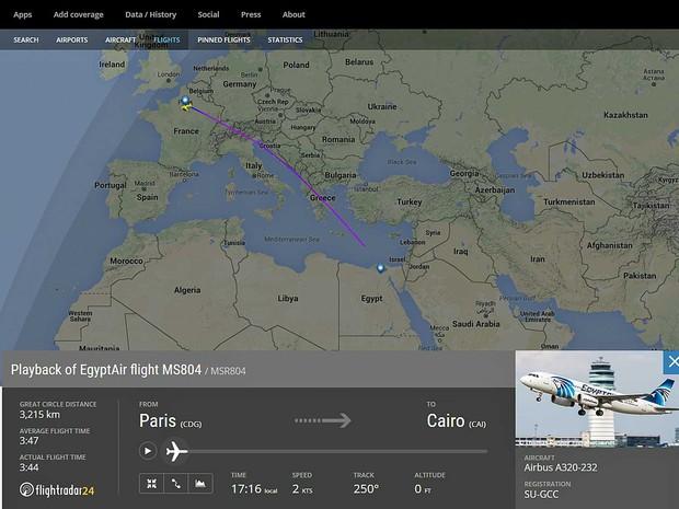 Rota do avião da EgyptAir: aeronave decolou de Paris, na França, e voava para o Cairo, no Egito (Foto: Reprodução / www.flightradar24.com)