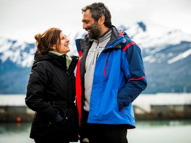 Domingos MOntagner e Débora Bloch nos bastidores de Sete Vidas (Foto: João Miguel Júnior / TV Globo)