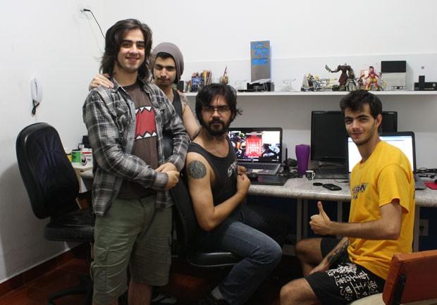 Da esquerda para a direita: Matheus Faroni, Gregório de Abreu, Marcelo Pinto e Lucas Jock, do Tawstudio, criadores de 'Mr. Bree' (Foto: Divulgação/Tawstudio)