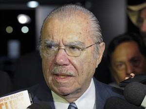 Os presidentes do Senado, José Sarney (PMDB-AP), em entrevista no Salão Azul (Foto: Marcos Oliveira/Agência Senado)