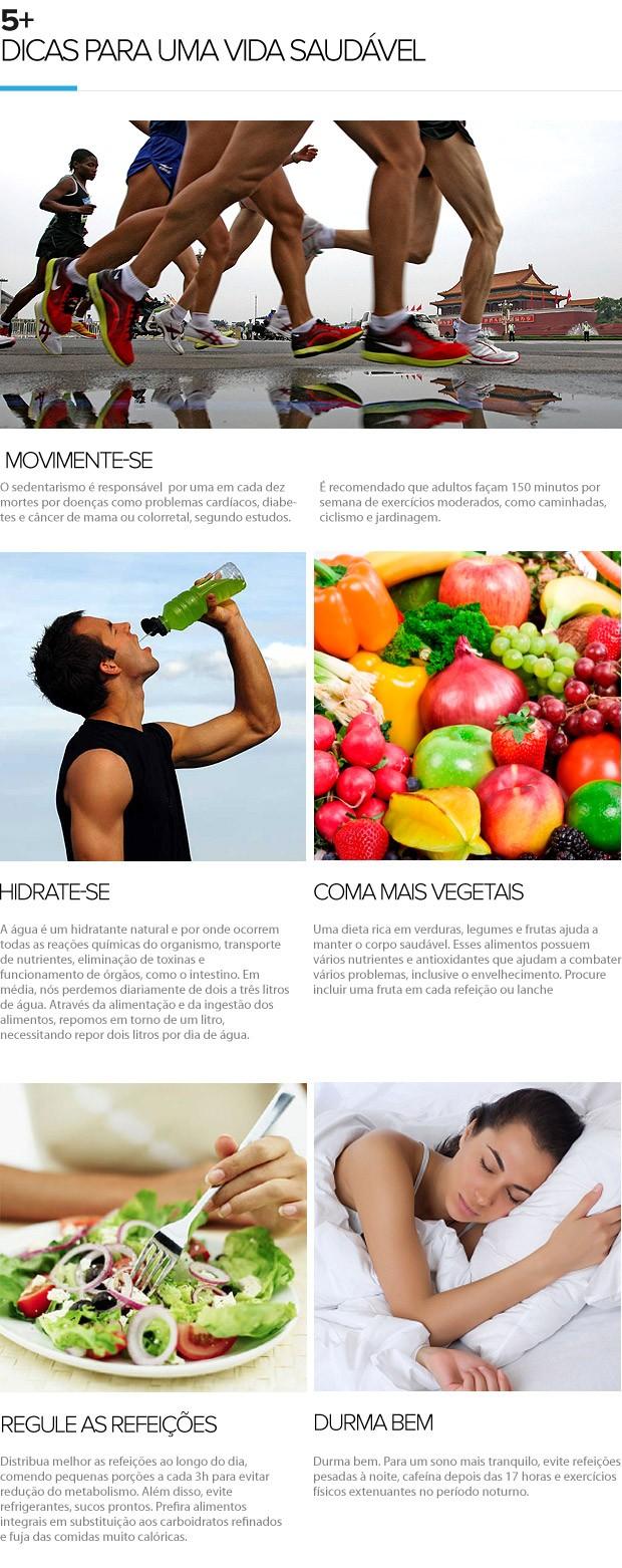 Dicas para uma vida saudável EU ATLETA 5+ (Foto: Editoria de Arte / Globoesporte.com)