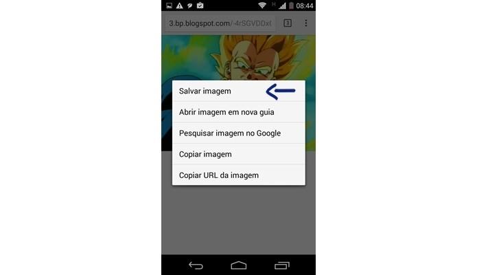 Seta indica opção Salvar imagem no Chrome para Android (Foto: Reprodução/Raquel Freire)