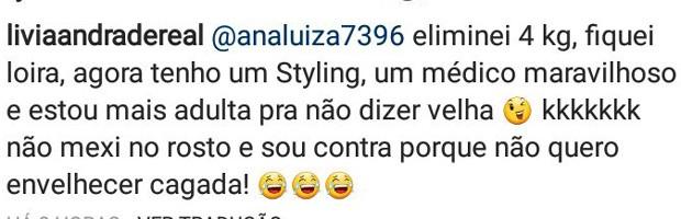 Lívia Andrade responde seguidora (Foto: Reprodução/Instagram)