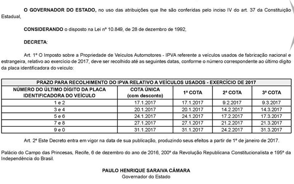 Cota única e primeira devem ser pagas no dia 17 de janeiro (Foto: Diário Oficial/Reprodução)