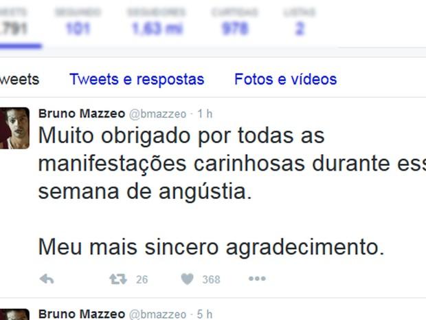 O ator Bruno Mazzeo, tio de Rian Brito, agradeceu as manifestações de carinho que a família recebeu ao longo da semana (Foto: Reprodução/ Twitter)
