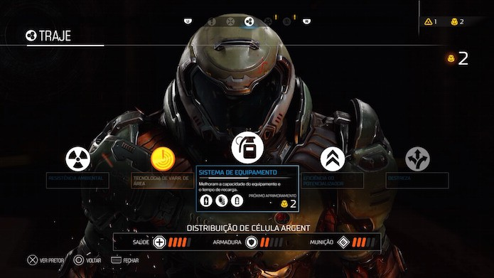 Doom: aprimore traje e equipamentos do protagonista (Foto: Reprodução/Victor Teixeira)