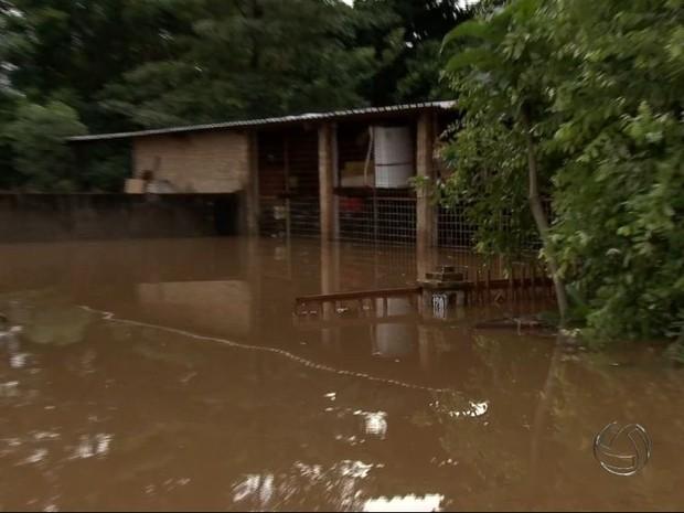 Cheia do rio Aquidauana deixou várias famílias desabrigadas no município, segundo a Defesa Civil (Foto: Reprodução/TV Morena)