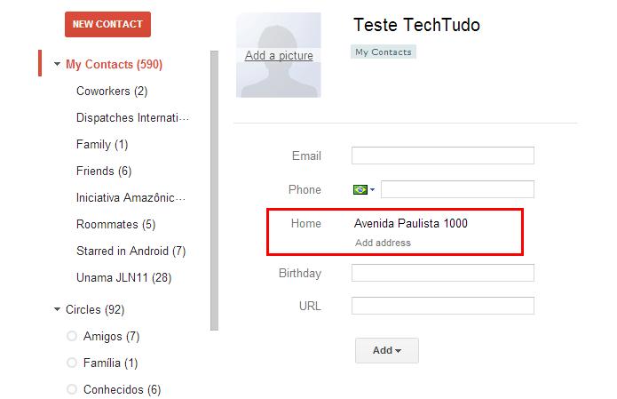 Cadastre o endereço de uma pessoa na sua lista de contatos e pesquise pelo nome no Maps (Foto: Reprodução/Paulo Alves) (Foto: Cadastre o endereço de uma pessoa na sua lista de contatos e pesquise pelo nome no Maps (Foto: Reprodução/Paulo Alves))