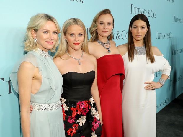 Naomi Watts, Reese Witherspoon, Diane Kruger e Jessica Biel em evento em Nova York, nos Estados Unidos (Foto: Neilson Barnard/ Getty Images/ AFP)