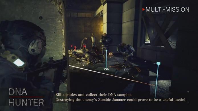 Em DNA Hunter a ação se volta para os zumbis de Umbrella Corps enquanto o outro time tenta atrapalhar sua coleta (Foto: Reprodução/YouTube)