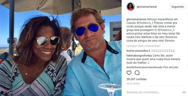 Glória Maria e o piloto Federico Fernandes (Foto: Reprodução/Instagram)