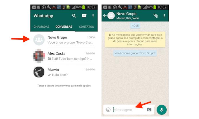 Acesso à tela de composição de mensagem de um chat de grupo do WhatsApp para Android (Foto: Reprodução/Marvin Costa)