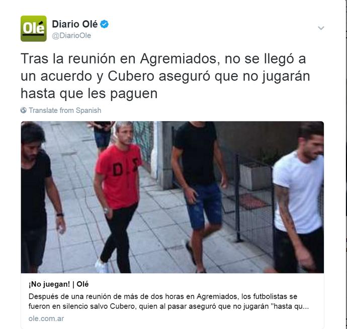 Olé Argentina greve jogadores (Foto: Reprodução/Twitter Diário Olé)