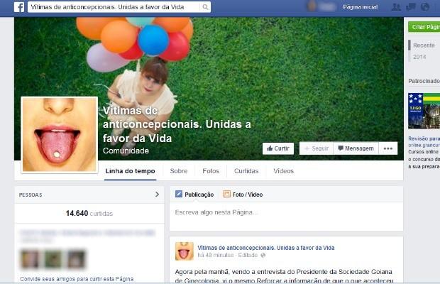 Quase 15 mil mulheres já integram comunidade que alerta sobre o uso de anticoncepcional em Goiás (Foto: Reprodução/ Facebook)