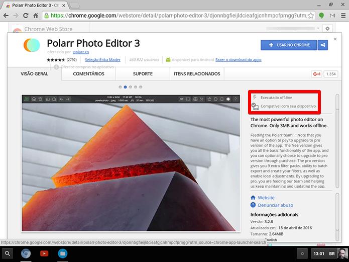 Quando achar um aplicativo que interessa, basta baixar para instalar no ChromeOS (Foto: Reprodução/Filipe Garrett)