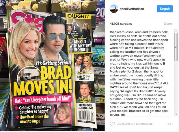 Irmão de Kate Husdon ironiza notícia de revista (Foto: Reprodução/Instagram)