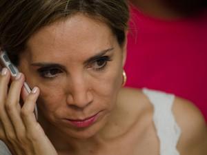 Dárcy Vera acompanha a apuração em seu comitê em Ribeirão Preto (Foto: Érico Andrade/G1)