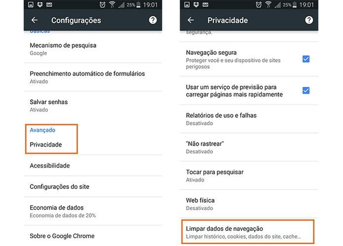 Acesse o item com os dados de navegação na privacidade do Chrome para Android (Foto: Reprodução/Barbara Mannara) (Foto: Acesse o item com os dados de navegação na privacidade do Chrome para Android (Foto: Reprodução/Barbara Mannara))