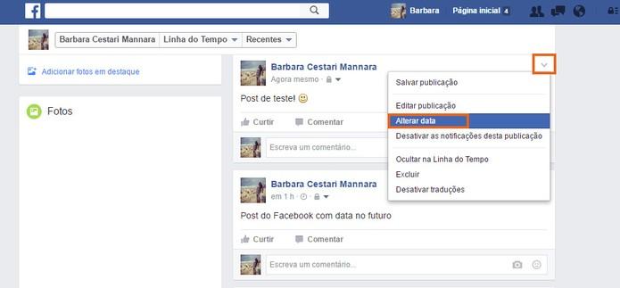 Clique para editar a data de um post do Facebook (Foto: Reprodução/Barbara Mannara)