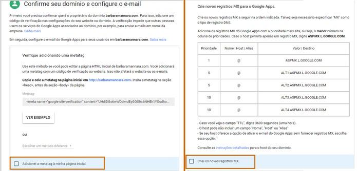 Configure o e-mail junto ao domínio (Foto: Reprodução/Barbara Mannara)