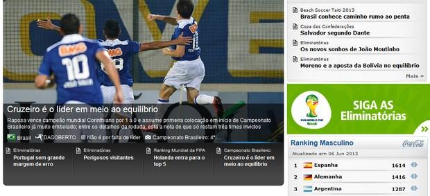 Cruzeiro, Fifa (Foto: Reprodução / Site Oficial da Fifa)