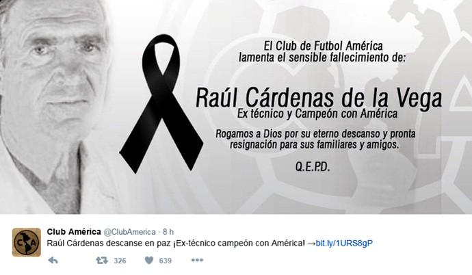 Reprodução Twitter América-MEX Raul Cardenas (Foto: Reprodução Twitter)