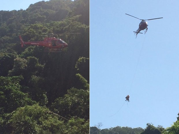 Alpinista foi resgatado pelos Bombeiros após cair no Parque estadual da Chacrinha, em Copacabana (Foto: Viviane/VC no G1)