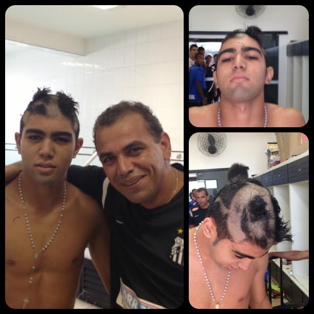 Neymar raspa cabelo de Gabigol (Foto: Reprodução  / Instagram)