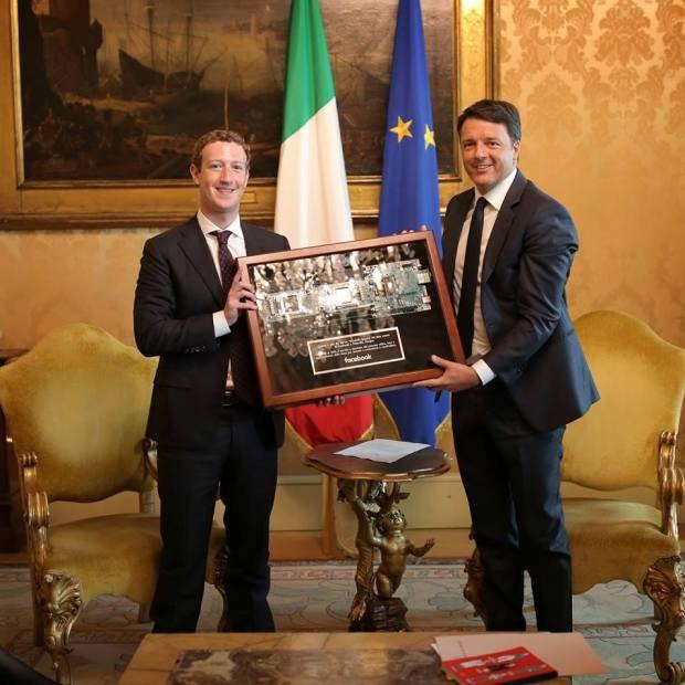 Mark Zuckerberg e Matteo Renzi, Primeiro Ministro da Itália (Foto: Reprodução/Facebook)